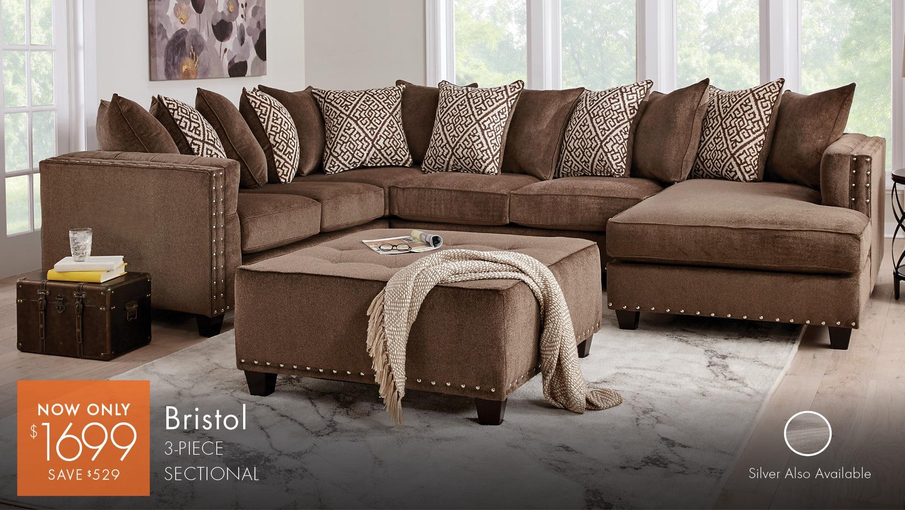 bristol sectional emilia 2 pc living room hillsboro queen set - Full Living Room Sets